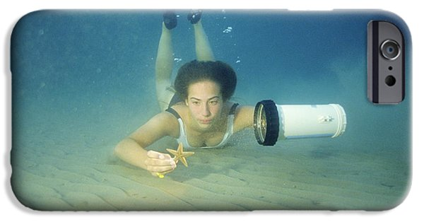 Free-diver iPhone Cases - Diving Contact Lenses iPhone Case by Alexis Rosenfeld