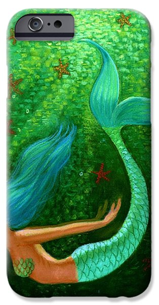 Woman Pastels iPhone Cases - Diving Mermaid Fantasy Art iPhone Case by Sue Halstenberg