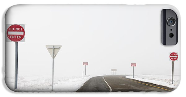 Snowy Day iPhone Cases - Do Not Enter Signs by Snowy Road iPhone Case by Dave & Les Jacobs