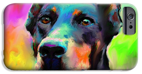 Pet Digital Art iPhone Cases - Doberman Pincher Dog portrait iPhone Case by Svetlana Novikova