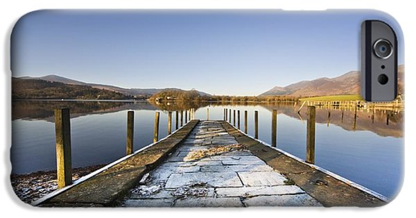 Water Color iPhone Cases - Dock In A Lake, Cumbria, England iPhone Case by John Short