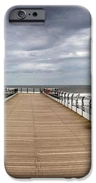 Dock With Benches, Saltburn, England iPhone Case by John Short