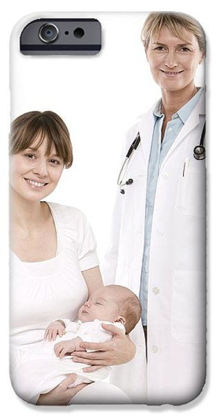 Doctor,mother And Baby iPhone Case by