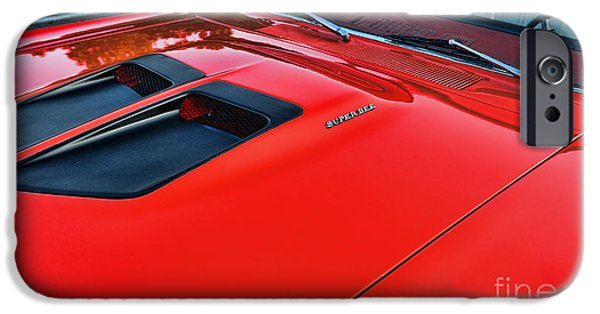Coronet iPhone Cases - Dodge Super Bee Hood  in Red iPhone Case by Paul Ward