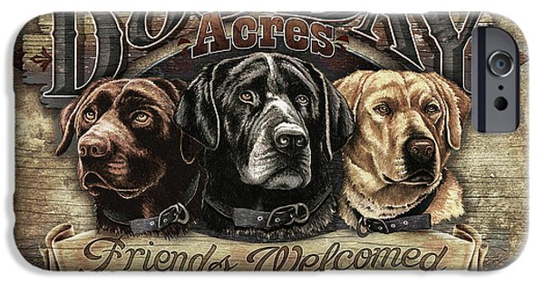 Dogs iPhone Cases - Dog Day Acres Sign iPhone Case by JQ Licensing
