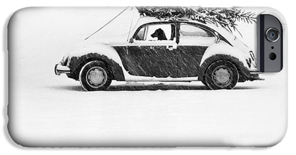 Dog In Snow iPhone Cases - Dog in Car  iPhone Case by Ulrike Welsch and Photo Researchers