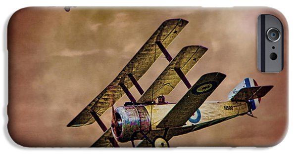 Sopwith Triplane iPhone Cases - Dogfight 1918 iPhone Case by Chris Lord