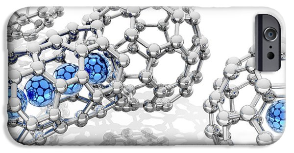 Conveyor Belt iPhone Cases - Doping Buckyball Molecules, Artwork iPhone Case by Laguna Design