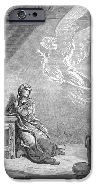 Incarnation iPhone Cases - DorÉ: The Annunciation iPhone Case by Granger