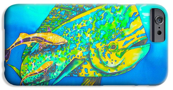 Sports Tapestries - Textiles iPhone Cases - Dorado and Remoras iPhone Case by Daniel Jean-Baptiste