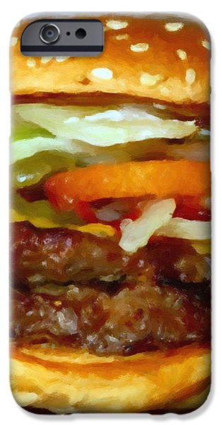 Double Whopper With Cheese And The Works - v2 - Painterly iPhone Case by Wingsdomain Art and Photography