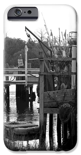 River View iPhone Cases - Down by the Docks in black and white iPhone Case by Suzanne Gaff