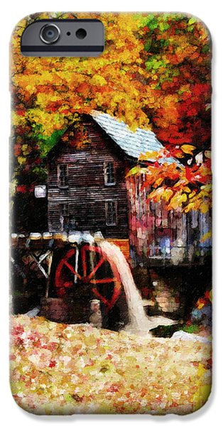 Tree Art Print iPhone Cases - Down By the Old Mill Stream iPhone Case by Lianne Schneider