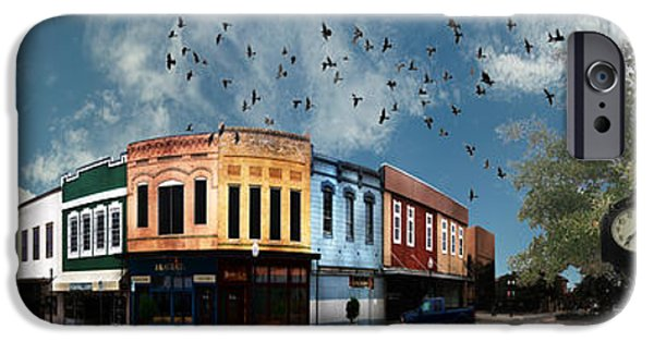 Business Digital Art iPhone Cases - Downtown Bryan Texas 360 Panorama iPhone Case by Nikki Marie Smith