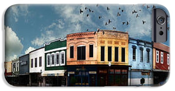 Store Fronts iPhone Cases - Downtown Bryan Texas Panorama 5 to 1 iPhone Case by Nikki Marie Smith