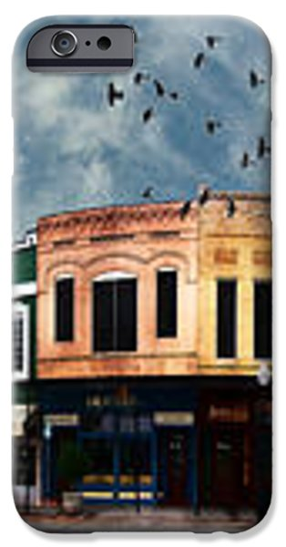 Downtown Bryan Texas Panorama 5 to 1 iPhone Case by Nikki Marie Smith