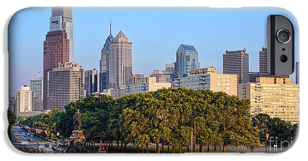Benjamin Franklin iPhone Cases - Downtown Philadelphia Skyline iPhone Case by Olivier Le Queinec