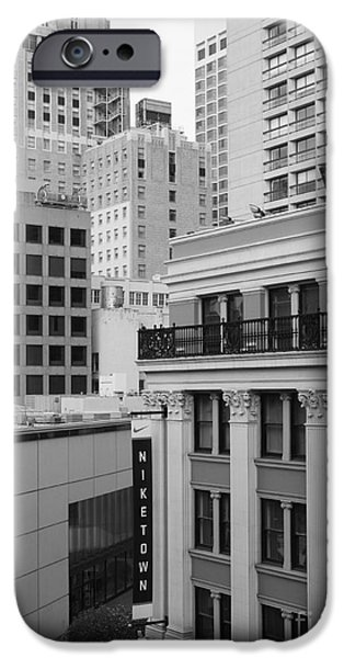 Nike Photographs iPhone Cases - Downtown San Francisco Buildings - 5D19323 - Black and White iPhone Case by Wingsdomain Art and Photography