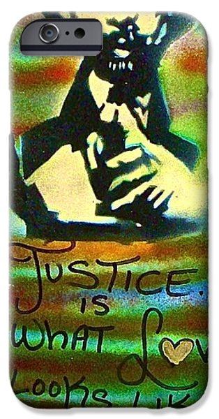 Tea Party iPhone Cases - Dr. Cornel West JUSTICE iPhone Case by Tony B Conscious