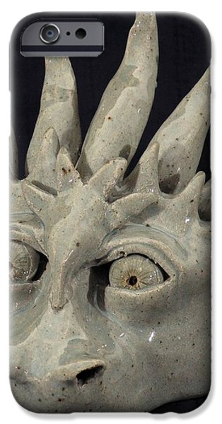 Fantasy Ceramics iPhone Cases - Dragon Mask iPhone Case by Angela Conley