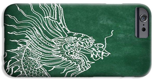 Power iPhone Cases - Dragon On Chalkboard iPhone Case by Setsiri Silapasuwanchai
