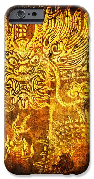 Dragon painting on old paper iPhone Case by Setsiri Silapasuwanchai