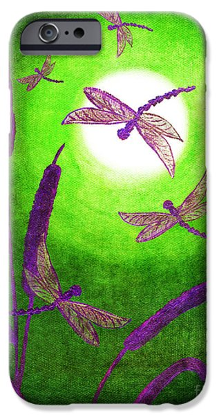 Cattails iPhone Cases - Dragonflies in Violet iPhone Case by Laura Iverson