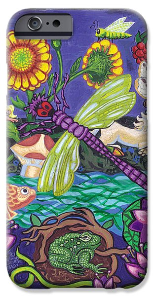 Purple Mushroom iPhone Cases - Dragonfly and Unicorn iPhone Case by Genevieve Esson