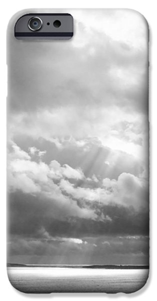 Maine iPhone Cases - Dramatic Clouds Seascape Acadia National Park Maine Black And White Photograph iPhone Case by Keith Webber Jr