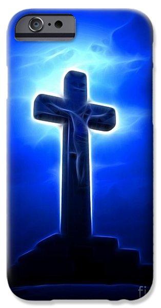 Jesus iPhone Cases - Dramatic Jesus Crucifixion iPhone Case by Pamela Johnson