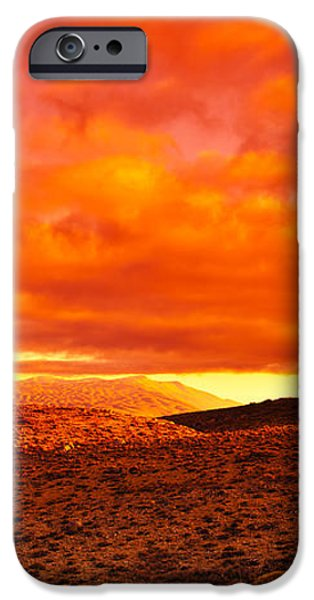 Dramatic red sunset at desert iPhone Case by Anna Omelchenko
