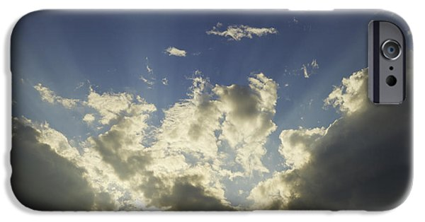 Nature Divine iPhone Cases - Dramatic Sunbeams And Storm Clouds Maine Fine Art Print iPhone Case by Keith Webber Jr