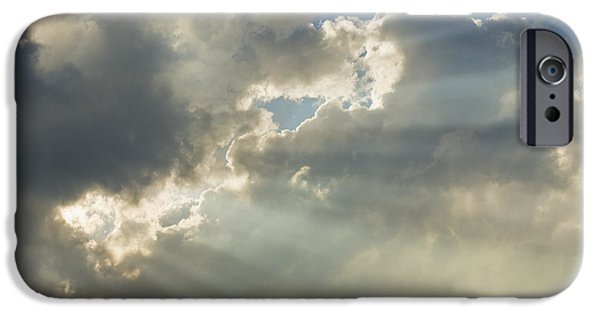 Nature Divine iPhone Cases - Dramatic Sunbeams And Storm Clouds Maine Photo Prints iPhone Case by Keith Webber Jr