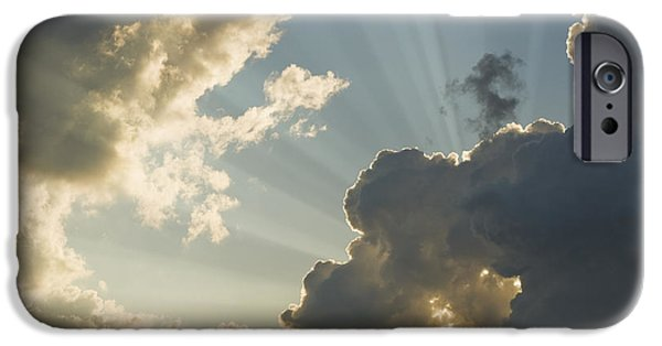 Nature Divine iPhone Cases - Dramatic Sunbeams And Storm Clouds Maine Photo Poster Print iPhone Case by Keith Webber Jr