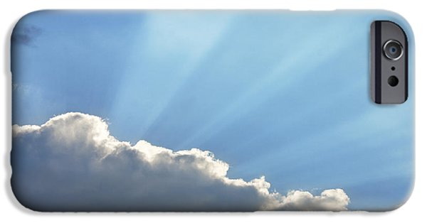 Nature Divine iPhone Cases - Dramatic Sunbeams And Storm Clouds Maine Poster Print iPhone Case by Keith Webber Jr