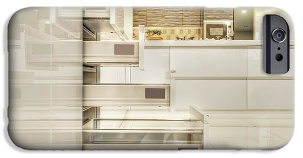 Storage Furniture iPhone Cases - Drawers In A Modern Fitted Kitchen iPhone Case by Lawren Lu