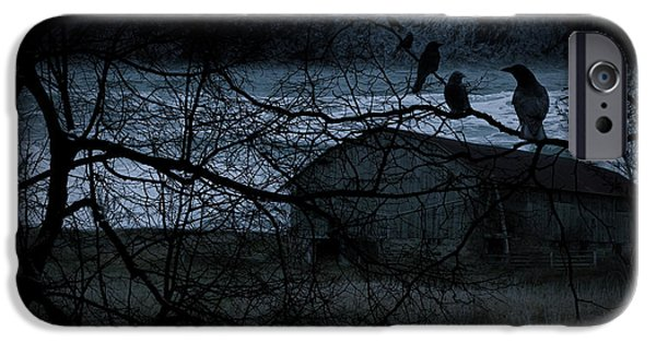 Crow iPhone Cases - Dreadful Silence iPhone Case by Lourry Legarde