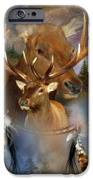Bulls Mixed Media iPhone Cases - Dream Catcher - Spirit Of The Elk iPhone Case by Carol Cavalaris