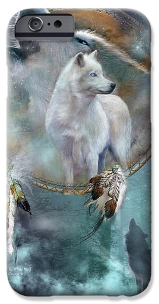 Animal Cards iPhone Cases - Dream Catcher - Spirit Of The White Wolf iPhone Case by Carol Cavalaris