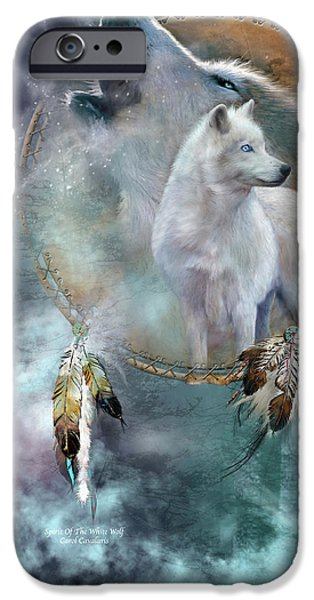 Greetings iPhone Cases - Dream Catcher - Spirit Of The White Wolf iPhone Case by Carol Cavalaris