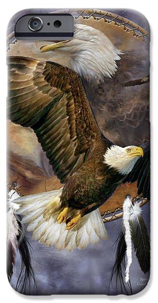 Eagle iPhone Cases - Dream Catcher - Spirit Eagle iPhone Case by Carol Cavalaris