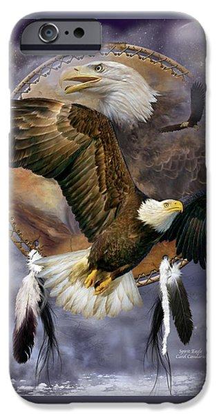 Bird Of Prey Art iPhone Cases - Dream Catcher - Spirit Eagle iPhone Case by Carol Cavalaris
