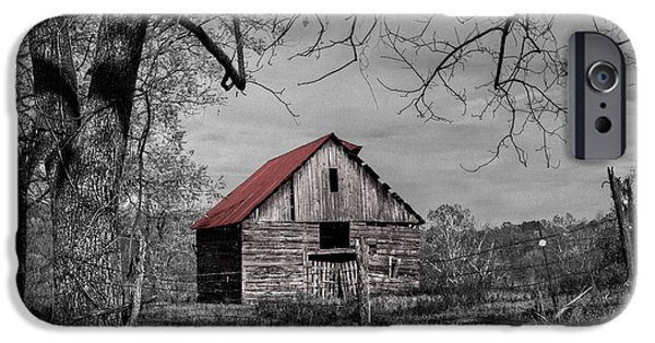 Red Roofed Barn iPhone Cases - Dressed In Red iPhone Case by Debra and Dave Vanderlaan