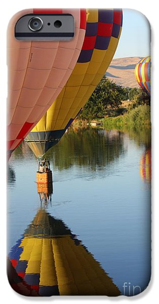 Hot Air Balloon iPhone Cases - Drifting Along on the Yakima River iPhone Case by Carol Groenen