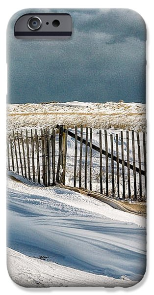 Drifting snow along the beach fences at Nauset Beach in Orleans  iPhone Case by Matt Suess