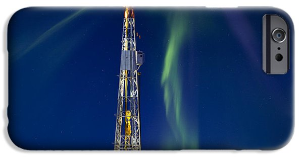 Solar Phenomena iPhone Cases - Drilling Rig Saskatchewan iPhone Case by Mark Duffy