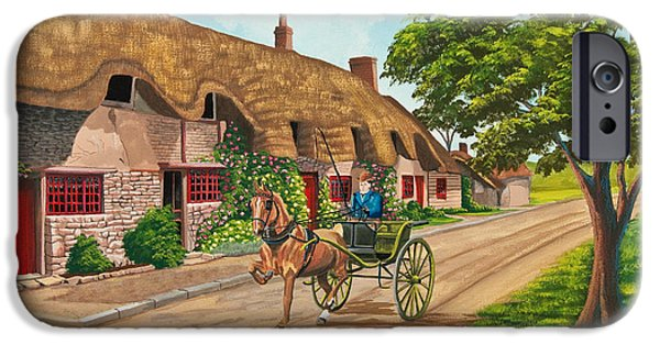 Horse And Cart Paintings iPhone Cases - Driving a Jaunting Cart iPhone Case by Charlotte Blanchard
