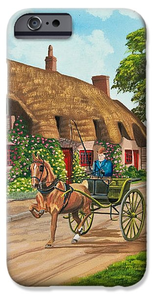 Driving a Jaunting Cart iPhone Case by Charlotte Blanchard