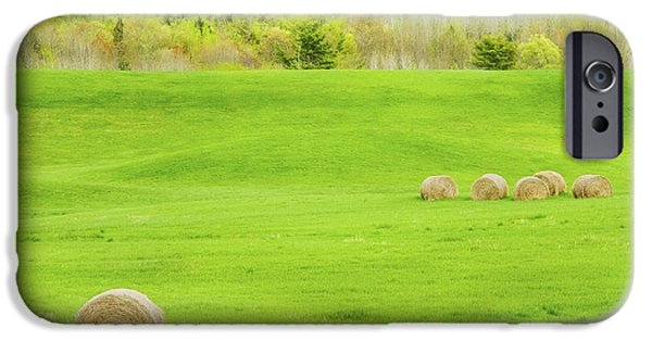 Maine Farms iPhone Cases - Dry Hay Bales In Spring Farm Field Maine Photo iPhone Case by Keith Webber Jr