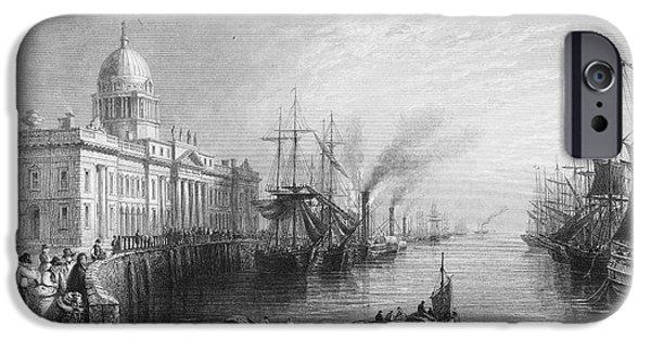 1840 iPhone Cases - Dublin: Custom House, 1840 iPhone Case by Granger